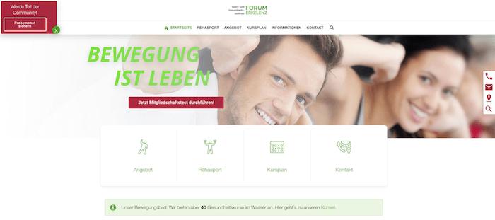 Webseiten Fitnessstudios Physiotherapien
